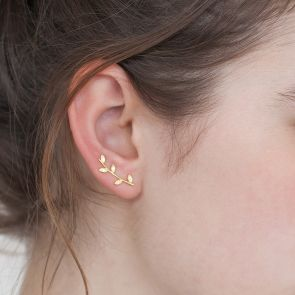 Gold Plated Sterling Silver Botanical Leaf Climber Earrings