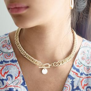 Gold Plated Statement Charm Disc Necklace