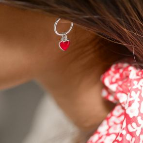 Valentine Heart Hoop Earrings in Silver with a small red enamel heart