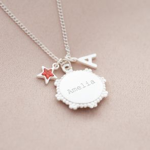 Vintage Disc Charm with Star Birthstone and Letter Charm