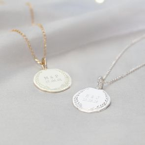 Disc Necklace with Garland Design Personalised with Chosen Initials and Date