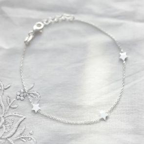 Personalised Sterling Silver Triple Star Bracelet