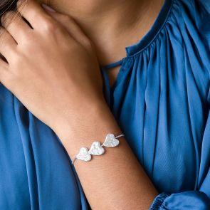 Alida Triple Heart Slider Personalised Bracelet