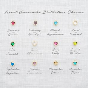 Add a Swarovski Crystal Heart Birthstone Charm