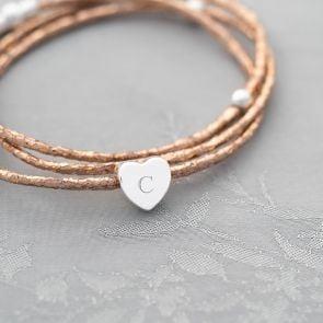 Alessia Metallic Heart Charm Personalised Bracelet