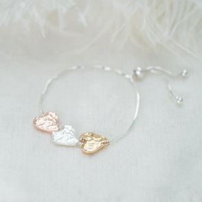 Alida Triple Heart Slider Personalised Bracelet