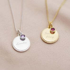 Bead Edge Disc and Birthstone Personalised Message Necklace