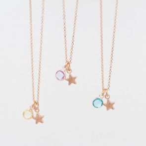 Personalised Star Birthstone Necklace
