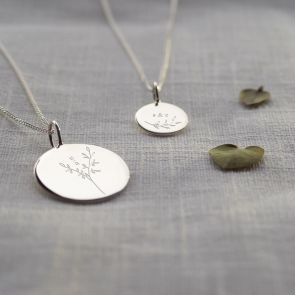 Sterling Silver Botanical Initial Personalised Necklace