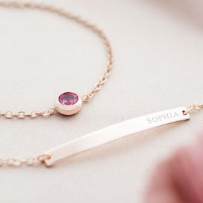 Colette and Carrie Birthstone Personalised Bracelet Set