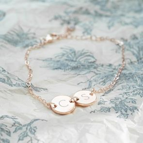 Contemporary Double Disc Personalised Bracelet