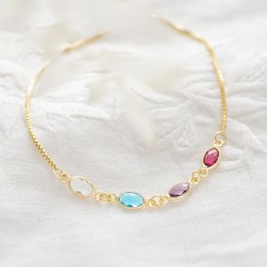 Create Your Own Oval Birthstone & Rope Bracelet Set