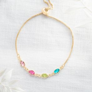 Create Your Own Family Oval Birthstone Personalised Bracelet