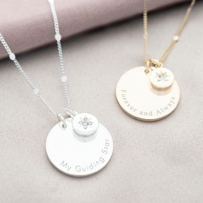Crystal Star and Disc Charm Personalised Necklace