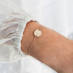 Delicate Initial Disc Personalised Bracelet