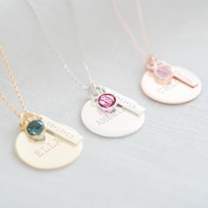 Disc, Bar and Birthstone Sterling Silver Personalised Name Necklace