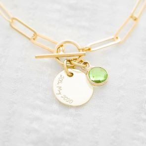 Disc and Birthstone Statement Personalised Bracelet