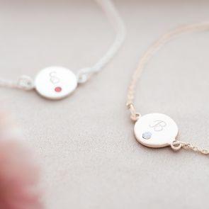 Dotty Initial Disc & Birthstone Personalised Bracelet