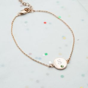 Dotty Initial Disc & Birthstone Personalised Bracelet