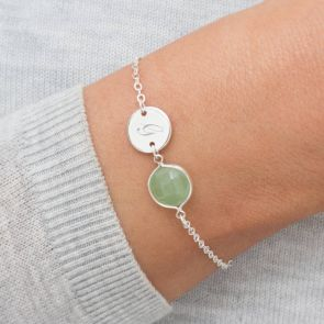 Elyse Semi Precious Birthstone And Disc Bracelet
