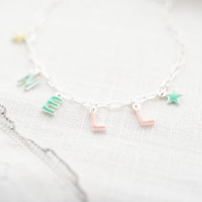 Enamel Letter Charm Personalised Necklace