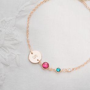 Family Birthstone Initial Disc Personalised Bracelet