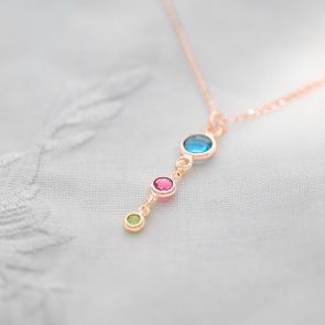 Family Birthstone Pendant Personalised Necklace