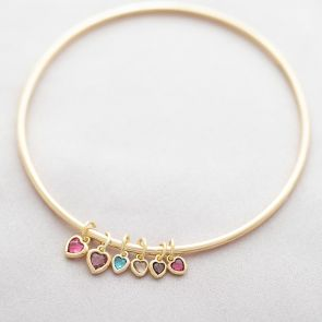 Family Heart Birthstone Personalised Bangle