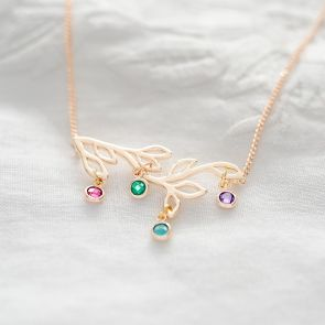 Family Tree and Birthstone Personalised Necklace