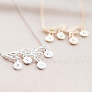 Family Tree and Disc Personalised Necklace