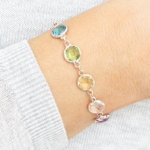 Initial Disc Family Birthstone Personalised Bracelet