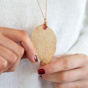 Caitlan Leaf Pendant Personalised Necklace