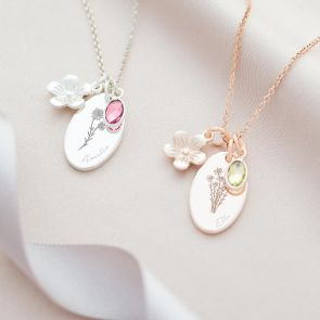 Flower and Birthstone Charm Personalised Oval Necklace