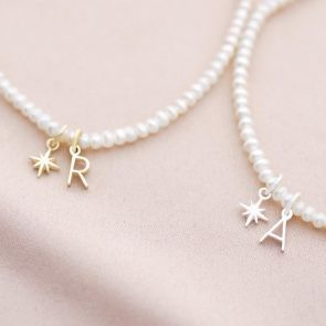 Freshwater Pearl Star and Letter Charm Personalised Bracelet