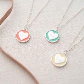 Freya Enamel Heart Personalised Couples Necklace