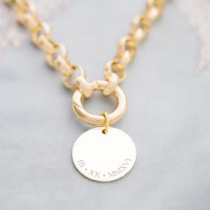 Aya Statement Chain and Disc Personalised Message Necklace