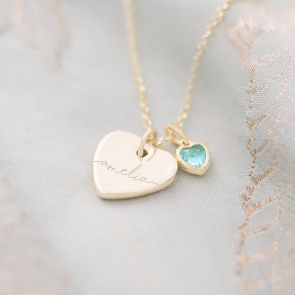 Esme Heart and Heart Birthstone Personalised Name Necklace