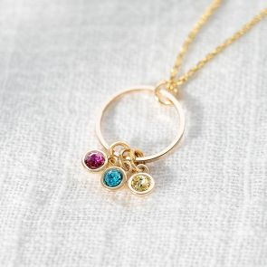Halo and Micro Birthstone Personalised Necklace