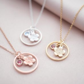 Halo Flower and Birthstone Personalised Necklace
