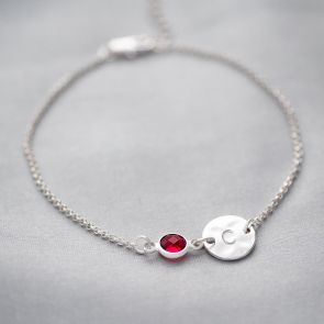 Hammered Disc and Birthstone Personalised Bracelet