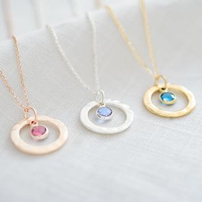 Hammered Halo Birthstone Personalised Necklace