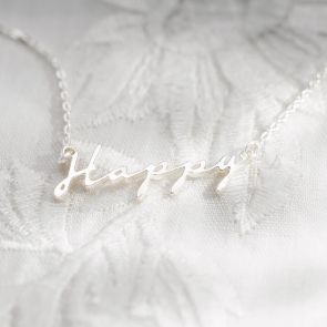 Happy Script Sterling Silver Pendant Personalised Necklace