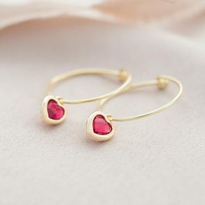 Heart Birthstone Personalised Hoop Earrings