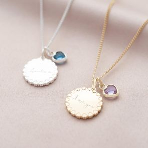 Heart Edge Disc and Heart Family Birthstone Personalised Necklace