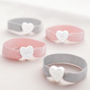 Heidi Heart Charm Personalised Stretch Bracelet