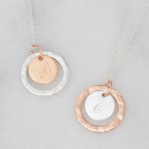 Hammered Halo Initial Disc Personalised Necklace
