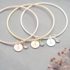 Initial and Birthstone Personalised Bangle