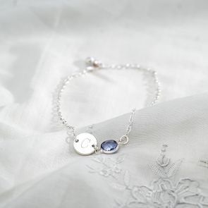 Sterling Silver Initial Disc and Birthstone Personalised Bracelet
