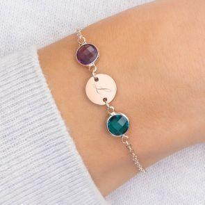Personalised Initial Disc Double Birthstone Bracelet