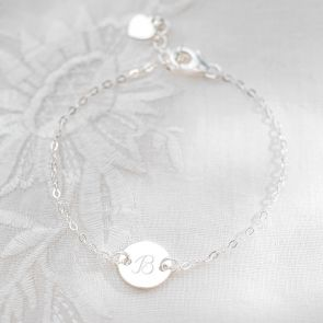 Sterling Silver Initial Disc Personalised Friendship Bracelet
